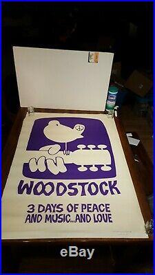 1969 Woodstock Movie Poster (Purple) Warner Bros Inc. RARE NICE