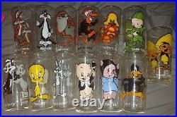 1973 Warner Bros. Looney Tunes Glasses Pepsi Collector Series. Lot of 13! Rare