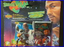 1996 Upper Deck Space Jam Sealed Set Michael Jordan Figure and Foil Pack Rare