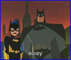 BRUCE TIMM rare BATMAN & BATGIRL cel CITYSCAPE Cold Comfort BTAS COA Mr Freeze