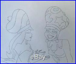BRUCE TIMM rare HARLEY QUINN & IVY cel + drawing SIGNED 2x SET hats Batman BTAS