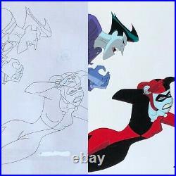 BRUCE TIMM rare HARLEY QUINN & Joker SET cel + drawing MAD LOVE BTAS WB COA