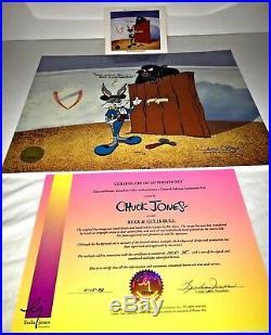 Bugs bunny cel gulli bull signed chuck jones rare artist proof cell & promo card