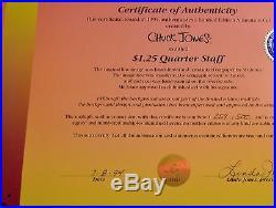CHUCK JONES BUCK AND A QUARTER STAFF ANIMATION CEL SIGNED #259/500 WithCOA RARE