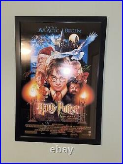 Cast signed Harry Potter and the Sorcerer's Stone 27x40 Poster WithCOA RARE