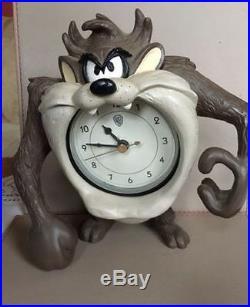 Extremely Rare! Looney Tunes Taz Tasmanian Devil Table Clock Figurine Statue