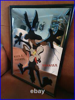 Extremely Rare! Warner Bros Looney Tunes Wile E Coyote Old Original Mirror