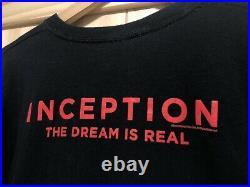 INCEPTION Movie Film RARE Promo Cast Crew T-Shirt DiCaprio Nolan 2010 NEW! Sz XL