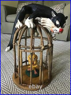 Looney Tunes Sylvester And Tweety Rare Bamboo Large Display 20 Tall Statue