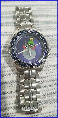 Marvin the Martian Watch Stainless Steel Warner Bros by Fossil Very Rare 1990s