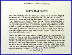 Muhammad Ali Signed Warner Brothers Animation Cel Empty That Glove Rare +Promo