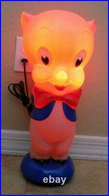 Porky Pig Plastic Blow Mold Light Vintage Rare Warner Brothers Lamp Looney Tunes