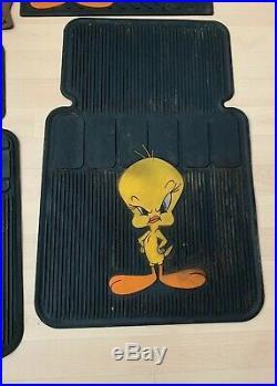 RARE 1994 Warner Bros Car Mats Tweety Pie/taz/Tasmania Devil LOONEY TUNES Used