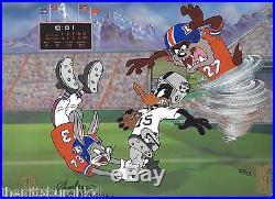 RARE Broncos Super Bowl XXXlll Falcons Raiders Warner Bro cel signed McKimson