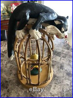 RARE Looney Tunes SYLVESTER the CAT & TWEETY BIRD Bamboo Cage Display 11