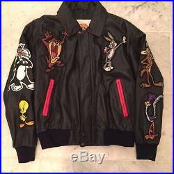 Rare 1996 Vintage Looney Tunes Leather Jacket Warner Bros. Collectible Large
