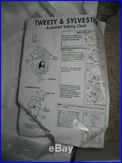 Rare Tweety & Sylvester Animated Talking Clock Cuckoo Clock NIB (read)