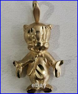 Rare Vintage 90s 14K Gold Porky Pig Cartoon Warner Bros Charm Pendant Licensed
