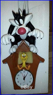 Rare! Warner Bros Looney Tunes Sylvester & Tweety Polyresin Cuckoo Clock