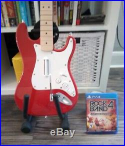 Rock Band 4 PS4 Game Bundle Rare Red Fender Guitar Wireless PlayStation 4