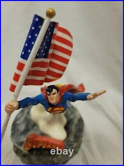 Ron Lee Superman Proudly We Wave Statue Superman Carrying US Flag Rare 1993