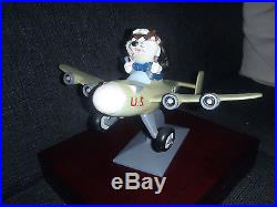 Ultra Rare! Tasmanian Devil Taz Flying US WW2 Fighter AirPlane Statue 1995
