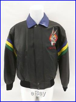 VERY RARE 1998 Looney Tunes Full Leather Embroidered Jacket WARNER BROS Small