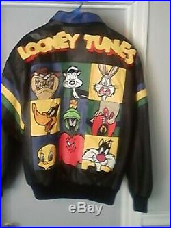 VERY RARE 1998 Looney Tunes Full Leather Embroidered Jacket WARNER BROS XL