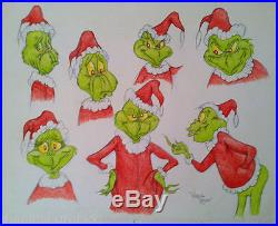 VERY RARE Original GRINCH MODEL SHEET DRAWING HAND SIGNED BY Virgil Ross cel