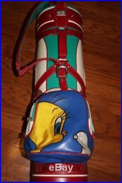 VINTAGE 80s LOONEY TUNES CART GOLF BAG SYLVESTER THE CAT TWEETY BIRD 1989 RARE
