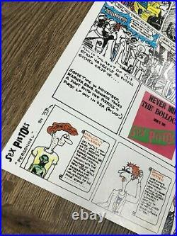 Very Rare 1977 Sex Pistols Poster Cartoon NMTB Warner Brother Promo JAMIE REID