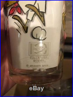 Very Rare Looney Tunes 1976 Pepsi Glass 6 Tall Sylvester, Slow Poke Rodriguez