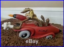 Very Rare Warner Bros. Wile E. Coyote in ACME Rocket Car Resin Statue