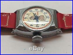 Vintage 1940s Porky Pig Wrist Watch Boxed Looney Tunes Warner Bros Ingraham Rare