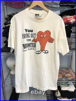 Vintage 1995 Looney Tunes Gossamer Monster In Me Single Stitch White Large RARE