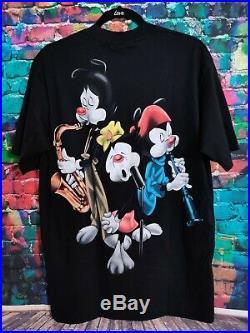 Vintage 90s Animaniacs Mega Print Pinky & The Brain Rare Men Shirt Large NWT