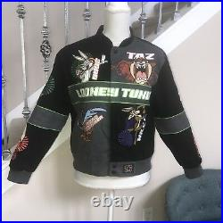 Vintage Looney Tunes embroidered Bomber jacket Size XL JH Design Rare