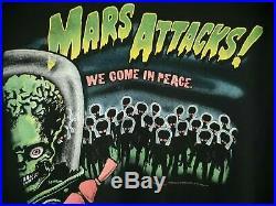 Vintage Mars Attacks! LG Long Sleeve We Come In Peace Shirt 1996 Tim Burton Rare