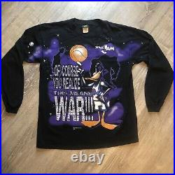 Vintage Space Jam 1996 Daffy Duck Longsleeve Rare Nike Jordan
