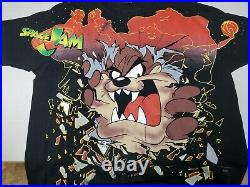 Vintage Space Jam Taz Shirt 90s All Over Print Rare Double Sided XL