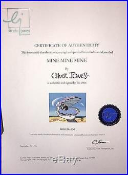 Warner Bros Daffy Duck Cel Mine Mine Mine Signed Chuck Jones Rare Animation Cell