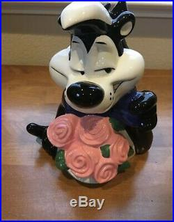 Warner Bros. Pepe Le Pew & Penelope Cookie Jar Looney Tunes 1996 Ceramic RARE