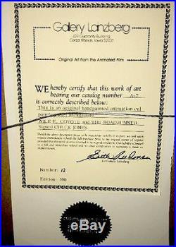 Warner Bros Rare Chuck Jones Signed Roadrunner Wile E Coyote Cel Missed Again