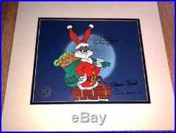 Warner Brothers Bugs Bunny Cel Santa Bugs Signed Chuck Jones Rare Edition Cell