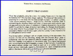 Warner Brothers Cel Muhammad Ali Signed Empty That Glove Rare Plus 2 Promo items